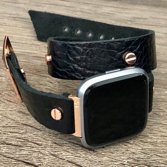 Simeon D Jewelry Black Leather Strap Rose Gold Fitbit Versa Band Poshmark